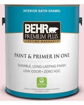 BEHR Premium Plus 1 gal. #120A-2 Delicate Rose Satin Enamel Low Odor Interior Paint and Primer in One