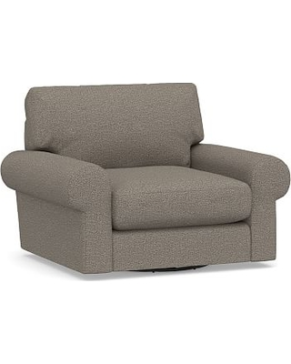 Turner Roll Arm Upholstered Swivel Armchair, Down Blend Wrapped Cushions, Performance Chateau Basketweave Light Gray