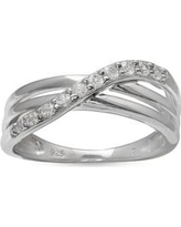 Belk Silverworks White Simply Sterling Pave Cubic Zirconia Polished Crossover Band-Size 8