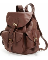 AmeriLeather Urban Buckle Flap Leather Backpack, Brown