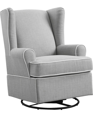Eddie Bauer Upholstered Wingback Swivel Glider   Gray