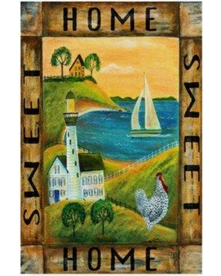 """Winston Porter 'Home Sweet Home Seaside Flag' Acrylic Painting Print on Wrapped Canvas WNPO2576 Size: 24"""" H x 16"""" W x 2"""" D"""
