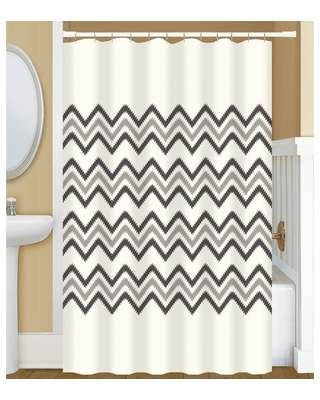 New Deal For Gamma Extra Long Shower Curtain 78 X 72 Inch Big Chevron Stitch Print Off White And Brown Fabric