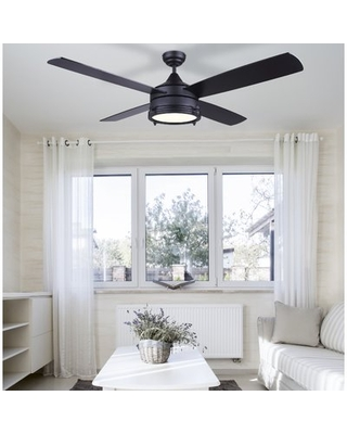 """52"""" Wilkerson 4 - Blade LED Standard Ceiling Fan with Remote Control and Light Kit Included"""