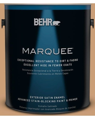 BEHR MARQUEE 1 gal. #ICC-62 Pumpkin Butter Satin Enamel Exterior Paint and Primer in One