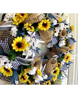 Country Blue Sunflower Wreath Decor Fall Spring Summer Front Door