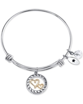 Unwritten Two-Tone Double Heart Mother Daughter Charm Bangle Bracelet in Stainless Steel with Silver Plated Charms