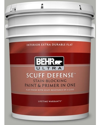 BEHR ULTRA 5 gal. #BXC-25 Colonnade Gray Extra Durable Flat Interior Paint & Primer