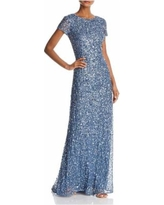 Sequined Scoop - Back Gown - Blue - Adrianna Papell Dresses