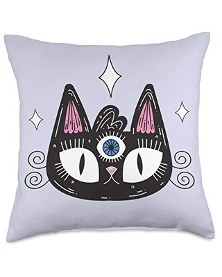 The Awesome Corner Shop Black cat with all-seeing-eye Throw Pillow, 18x18, Multicolor
