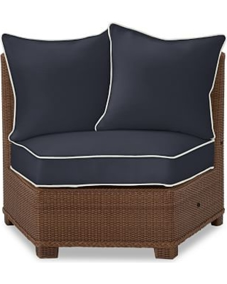 Palmetto Rounded Armless Sectional Cushion Slipcover, Sunbrella(R) Contrast Piped; Navy