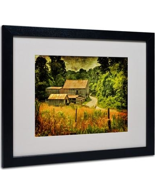 "Trademark Art ""Country Road In Summer"" by Lois Bryan Matted Framed Graphic Art LBr0197 Frame: Black Size: 16"" H x 20"" W x 0.5"" D"