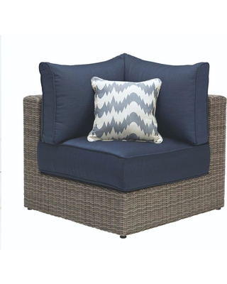 Home Decorators Collection Naples Grey All-Weather Wicker Corner Outdoor Sectional Chair with Navy Cushions