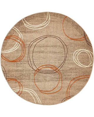 Unique Loom Autumn Cornucopia Light Brown 8' 0 x 8' 0 Round Rug