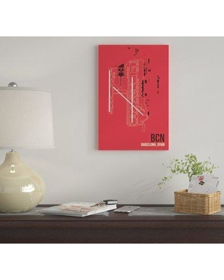 "East Urban Home 'BCN Diagram Barcelona Spain' By 08 Left Graphic Art Print on Canvas EUME2200 Size: 40"" H x 26"" W x 0.75"" D"