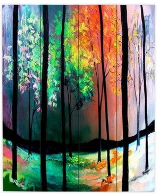 "DiaNocheDesigns The Four SeasOns by Aja Ann Painting Print Plaque WPA-AjaAnnTheFourSeasons Size: 20"" H x 16"" W x 1"" D"