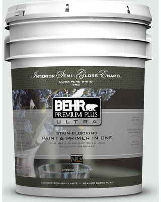 BEHR ULTRA 5 gal. #BL-W07 Wind Chill Semi-Gloss Enamel Interior Paint and Primer in One