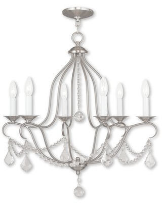 Bayfront 6 - Light Candle Style Chandelier with Crystal Accents