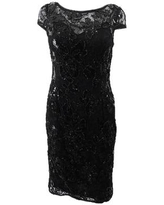 Adrianna Papell Women's Beaded Floral Lace Sheath Dress - Black