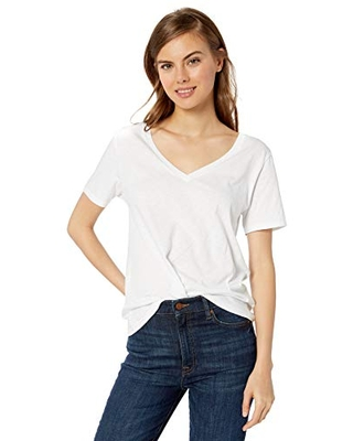 The Drop Women's Lindsey Short-Sleeve V-Neck Loose Fit T-Shirt, White, XS