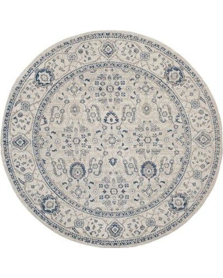 """Charlton Home Nielsen Cotton Gray/Ivory Area Rug CHLH2831 Rug Size: Round 6'7"""" x 6'7"""""""