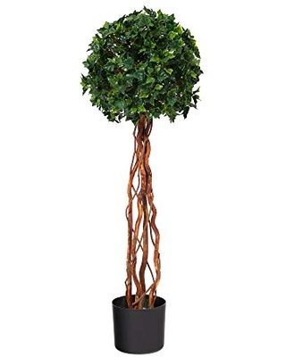 3.5ft. English Ivy Single Ball Topiary Artificial Tree with Natural Trunk UV Resistant (Indoor/Outdoor)