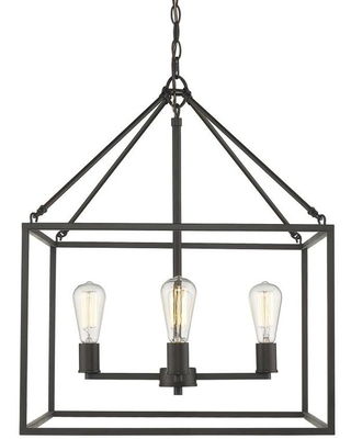 Golden Lighting Wesson 4-Light Rubbed Bronze Transitional Cage Chandelier | 2072-4 RBZ