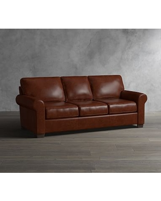Buchanan Roll Arm Leather Grand Sofa Polyester Wred Cushions Legacy Taupe