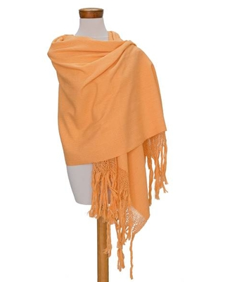 Handwoven Cotton Shawl in Yellow from Guatemala