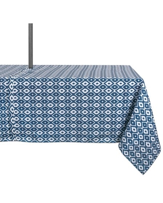"""DII Blue Ikat Outdoor Tablecloth With Zipper, 60x84"""", 100% Polyester"""