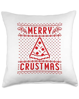 Detour Shirts Merry Crustmas Pizza Ugly Christmas Sweater Red Text Throw Pillow, 18x18, Multicolor