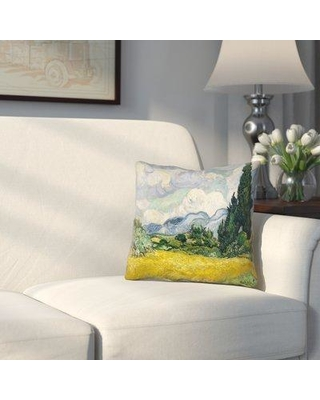 """Alcott Hill Woodlawn Wheatfield with Cypresses Linen Throw Pillow ALTH1173 Size: 14"""" H x 14"""" W Color: Yellow"""