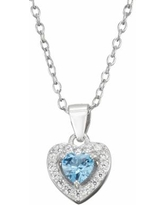 Junior Jewels Kids' Sterling Silver Simulated Birthstone Heart Pendant Necklace, Girl's, Blue