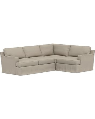 Townsend Square Arm Slipcovered Left Arm 3-Piece Corner Sectional, Polyester Wrapped Cushions, Performance Brushed Basketweave Sand