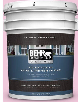 BEHR ULTRA 5 gal. #P130-1 Piggy Bank Satin Enamel Exterior Paint and Primer in One