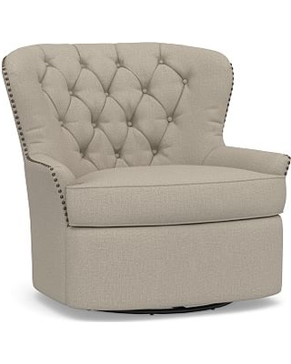 Cardiff Upholstered Tufted Swivel Armchair, Polyester Wrapped Cushions, Performance Brushed Basketweave Sand