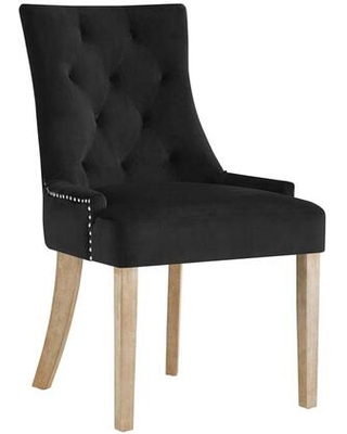 Pose Collection EEI-2577-BLK Dining Chair with Natural Tapered Wood Legs Studded Nailhead Trim Non-Marking Foot Caps and Stain Resistant Velvet