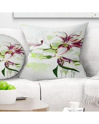 """East Urban Home Floral Colorful Flowers with Color Splashes Pillow FUSI4029 Size: 18"""" x 18"""" Product Type: Throw Pillow"""