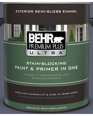 BEHR Premium Plus Ultra 1 gal. #S550-6 Mysterious Night Semi-Gloss Enamel Exterior Paint and Primer in One