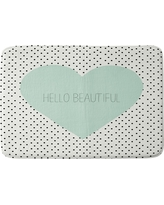 "Allyson Johnson Hello Beautiful Heart Cushion Bath Mat (36""x24"") Mint - Deny Designs, Green"