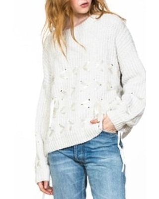 Chenille Lace-Detailed Sweater