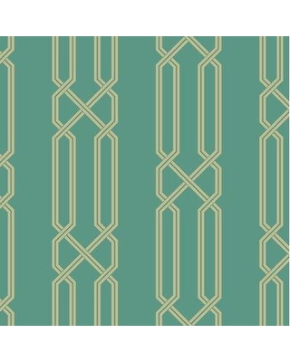 """Mercer41 Thompson Double Chain 27' L x 27"""" W Wallpaper Roll W001325482 Color: Teal Green/Metallic Gold"""