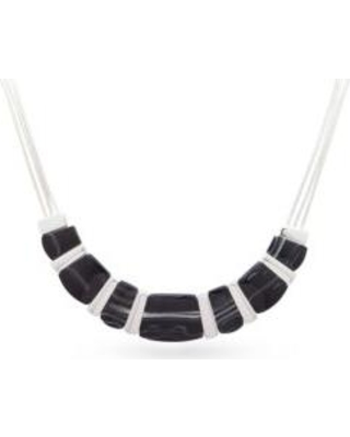 Nine West Black Silver-Tone Set To Shine Collar Necklace
