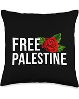 Free Palestine Shirt And Accessories Free Gaza Palestine Flag Arabic Throw Pillow, 16x16, Multicolor