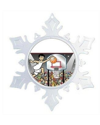 The Holiday Aisle® Personalized NTT Cartoon Snowflake Basketball Player Christmas Holiday Shaped Ornament X111611282