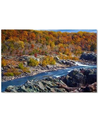 """Trademark Art """"Potomac Autumn"""" by CATeyes Photographic Print on Wrapped Canvas MZ0308-C Size: 16"""" H x 24"""" W x 2"""" D"""