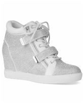 INC Women's Debby Wedge Sneakers, Created for Macy's - Silver