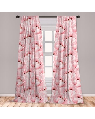 Ambesonne Watercolor 2 Panel Curtain Set, Vintage Hand Drawn Flowers Blossoming Nature Spring Season Inspirations, Lightweight Window Treatment Living