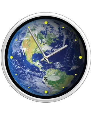 """12.75"""" x 1.5"""" Earth The Beautiful Decorative Wall Clock White Frame - By Chicago Lighthouse"""