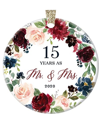 Spectacular Deals On 15th Wedding Anniversary 2020 Christmas Ornament Gift Fifteen 15 Years Married Husband Wife Couple Porcelain Tree Decoration Marriage Keepsake Xmas Present Ceramic 3 Flat With Gold Ribbon Free Box